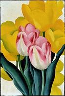 Tulips: Pink and Yellow Georgia O´ Keeffe (1887-1986/American). Oil on cardboard