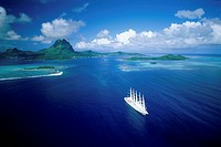 Ship sailing in the sea, Bora Bora, French Polynesia