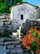 Church entrance in Piontes village on Mani Peninsula. Laconia, Peloponnese. Greece