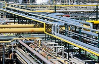 Pipelines at Repsol-YPF oil refinery. Tarragona province. Spain