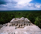 Maya pyramid in ´Calakmul´ Biosphere Reserve. Campeche. Mexico