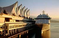 Canada place with cruise ship moored at the cruise ship terminal. Vancouver. British Columbia. Canada
