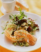 Mixed salad leaves with scampi (1)