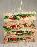 Multi-Layer Sandwich with Ham, Cheese, Tomato and Lettuce