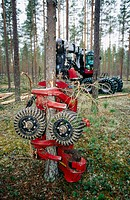 Forest harvester in Sweden