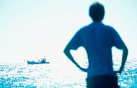 Blue silhouette and boat