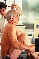ELDERLY P. IN PHYSICAL THERAPY<BR>Rheumatism back pain