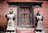 Door at the Royal Palace. Bhaktapur. Nepal