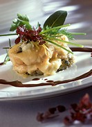 Calf´s sweetbread with cheese topping and cassis sauce