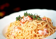 Spaghetti with chili and shrimps