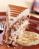Piece of caramel meringue gateau