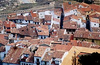 Aerial view of Morella in Castellon. Comunidad Valenciana. Spain