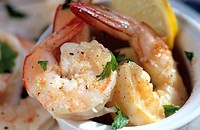 Cooked garlic, salt and pepper prawns
