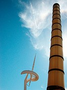 Communications tower by Santiago Calatrava and street lamp. Barcelona. Spain