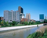 Skyline of Toledo and Maumee River in foreground. Ohio. USA