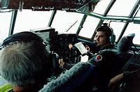 ´Hurricane Hunters. Cockpit of a Hercules plane being flown by the US Air Force Hurricane Hunters team through Hurricane Floyd (September 1999). ...