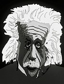 ´Albert Einstein.   Computer  artwork  of    Albert Einstein´s  distorted  head,  maybe representing a distortion in spacetime. Einstein (1879-1955) w...