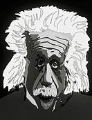 ´Albert Einstein.  Computer artwork of  Albert Einstein´s distorted head, maybe representing a distortion in spacetime. Einstein (1879-1955) w...