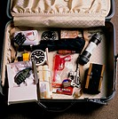 ´A suitcase containing test objects for airport X- ray machines. Among the contents are a hand grenade, apistol, aplastic water pistol, an umbrella, a...