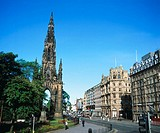 Scott Monument and Princes Street. Edinburgh. Scotland