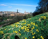West Princes Street Gardens and city centre. Edinburgh. Scotland