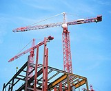 Construction cranes and office block under construction (thumbnail)