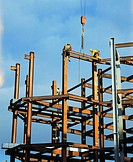 Steel framework, office block under construction