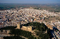 Aerial view of Antequera and Castle. Malaga province. Andalucia. Spain