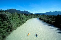 Kayaks on the river Isar near Lenggries, Isarwinkel, Upper Bavaria, Germany