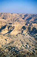 Hatshepsut´s Temple site, near Deir-el Bahri, aerial view from a balloon. West Bank. Luxor. High Egypt. Egypt