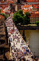 Charles Bridge from Old Town Bridge Tower. Prague. Czech Republic
