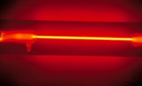 Neon emission tube. A neon lamp consists of a glass tube containing neon gas at a low pressure and two metal electrodes at either end. When an voltage...