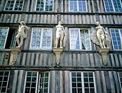 Half-timbered medieval house ornamented with stone statues. Rouen. Seine-Maritime. Normandie. France