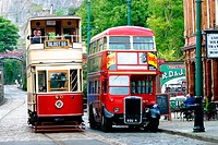 English tramcar and London bus. England