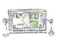 Frozen euro bill