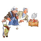 Elderly couple shopping with francs and euros