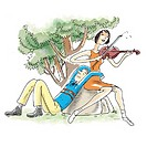 Couple on rock, woman playing violin