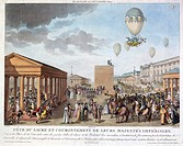 Coloured engraving by Marchand after a drawing by Le Coeur, entitled ´Fete du sacre et couronnement de leurs Majestes Imperiales', illustrating the co...