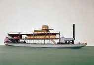 'Model (scale 1:12). This stern-wheel paddle steamer and her sister ship, the 'General Troquilla' were built of steel in 1879 for the United States of...
