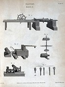 Engraved plate by Wilson Lowry from ´Rees´s Cyclopaedia´, 1808. It illustrates equipment used for the boring of cannon barrels. Boring cannon barrels ...