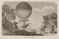 Steel engraving showing Blanchard descending in his balloon to the alarm of local people, one of whom aims a gun at him. French aeronaut Jean-Pierre B...