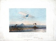 Lithograph by W Walton, showing Henson's Aerial Steam Carriage in a fictitious flight over the Pyramids. William Henson (1812-1888) patented his desig...