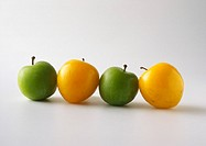 Green and yellow plums in line