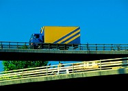 Truck on overpass