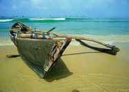 India, boat on shore of beach