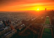 France, Paris, sunrise, aerial view