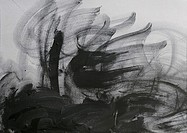 Black charcoal scribbled on paper, close-up, full frame