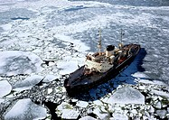 Ship in icy water