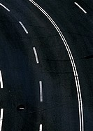 Road with white lines, close-up, birdseye view