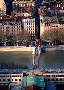 France, Lyon, bridge across the Rhone River